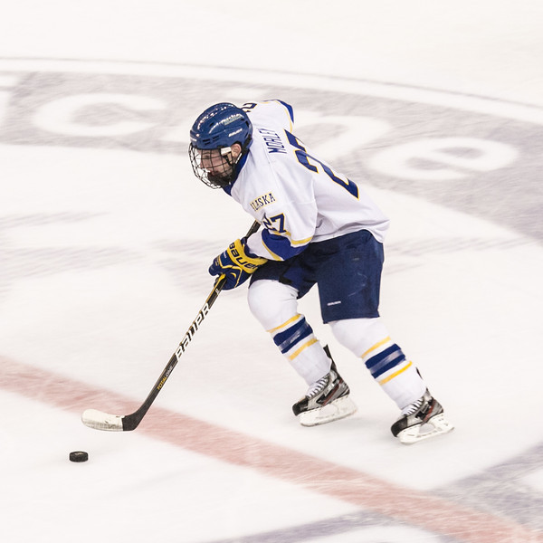"Freshman Tyler Morley faces brings the puck across center ice during the Nanooks' 2-1 win over North Dakota in the Carlson Center.  <div class=""ss-paypal-button"">Filename: ATH-12-3601-181.jpg</div><div class=""ss-paypal-button-end"" style=""""></div>"