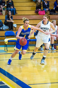 Senior Taylor Altenburg drives the baseline during first half action in the Nanooks' game against the Colorado School of Mines in the Patty Center.  Filename: ATH-12-3639-12.jpg
