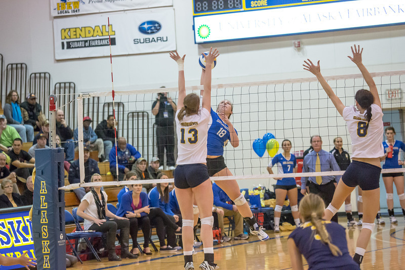 """Freshman Megan Morrison skies for a kill during the Nanooks' match against Montana State-Billings in the Patty Center.  <div class=""""ss-paypal-button"""">Filename: ATH-12-3638-113.jpg</div><div class=""""ss-paypal-button-end"""" style=""""""""></div>"""
