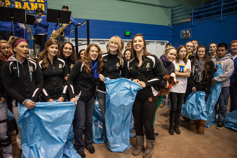 """The Student-Athlete Advisory Committee (SAAC) sponsored the 2nd Annual Teddy Bear Toss during the hockey game against Bowling Green State University Saturday, Dec. 8, 2012 at the Carlson Center. The bears were sent to Santa's Clearing House in Fairbanks to be given to families during holiday season.  <div class=""""ss-paypal-button"""">Filename: ATH-12-3676-42.jpg</div><div class=""""ss-paypal-button-end"""" style=""""""""></div>"""