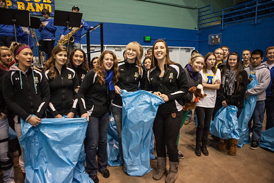 The Student-Athlete Advisory Committee (SAAC) sponsored the 2nd Annual Teddy Bear Toss during the hockey game against Bowling Green State University Saturday, Dec. 8, 2012 at the Carlson Center. The bears were sent to Santa's Clearing House in Fairbanks to be given to families during holiday season.  Filename: ATH-12-3676-42.jpg