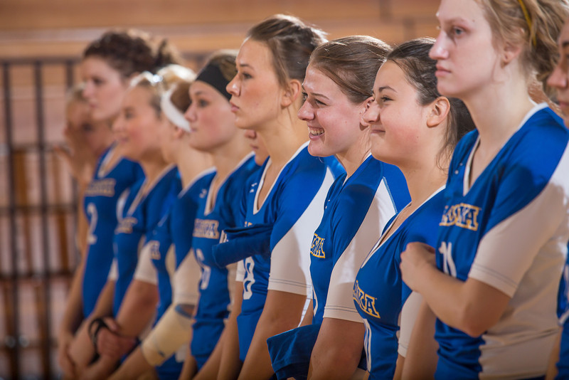 """The Nanooks' volleyball team lines up for introductions.  <div class=""""ss-paypal-button"""">Filename: ATH-12-3581-7.jpg</div><div class=""""ss-paypal-button-end"""" style=""""""""></div>"""