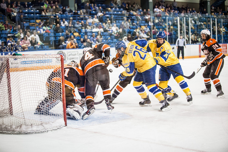 """UAF Nanooks' Men's Hockey Team face off Bowling Green State University Saturday, Dec. 8, 2012, at the Carlson Center. The Nanooks won the shootout at the end of a tied game.  <div class=""""ss-paypal-button"""">Filename: ATH-12-3676-17.jpg</div><div class=""""ss-paypal-button-end"""" style=""""""""></div>"""