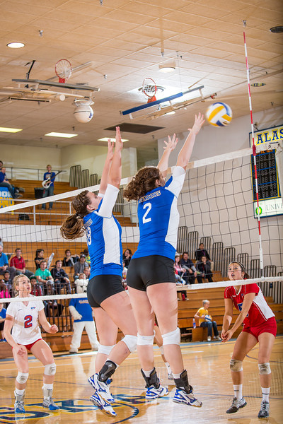 "Keri Knight and Morgan Tebbs team up at the net during the Nanooks' win over Simon Fraser in the Patty Center.  <div class=""ss-paypal-button"">Filename: ATH-12-3581-78.jpg</div><div class=""ss-paypal-button-end"" style=""""></div>"