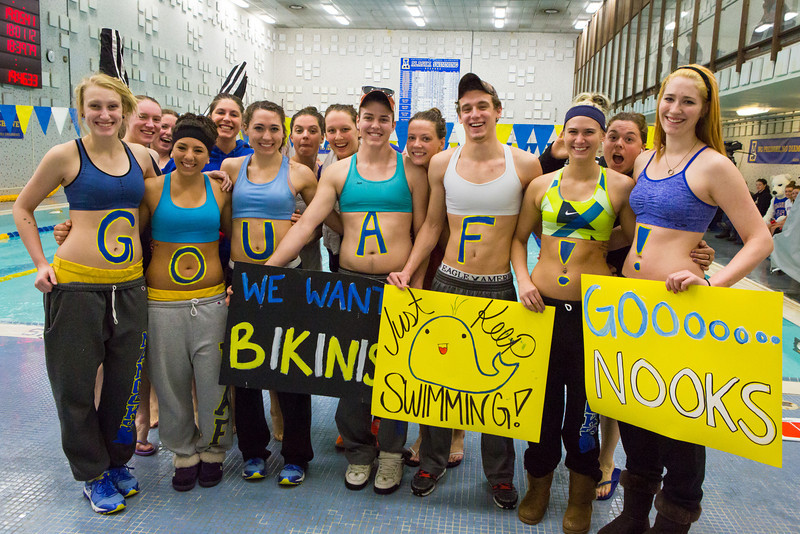 "UAF student athletes pose for a portrait with the women's swim team before a meet at the Patty pool.  <div class=""ss-paypal-button"">Filename: ATH-14-4050-39.jpg</div><div class=""ss-paypal-button-end""></div>"