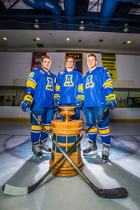 Colton Beck, left, Michael Quinn, center, and Cody Kunyk return as seniors to lead the Nanooks in 2013 as the team makes its initial foray into the tough WCHA (Western Collegiate Hockey Association).  Filename: ATH-13-3818-26.jpg