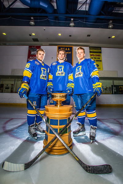 """Colton Beck, left, Michael Quinn, center, and Cody Kunyk return as seniors to lead the Nanooks in 2013 as the team makes its initial foray into the tough WCHA (Western Collegiate Hockey Association).  <div class=""""ss-paypal-button"""">Filename: ATH-13-3818-26.jpg</div><div class=""""ss-paypal-button-end"""" style=""""""""></div>"""