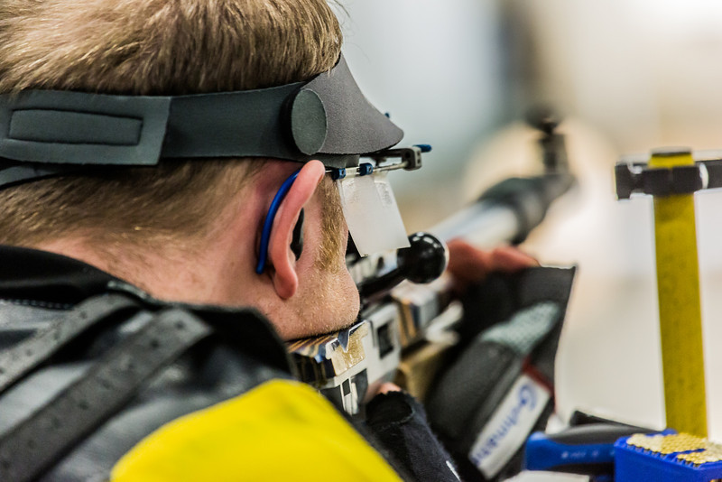 "Junior Mats Eriksson competes in the small bore event during the Nanooks' meet against the Citidel Jan. 20 in the E.F. Horton Rifle Range on the Fairbanks campus.  <div class=""ss-paypal-button"">Filename: ATH-14-4042-44.jpg</div><div class=""ss-paypal-button-end"" style=""""></div>"