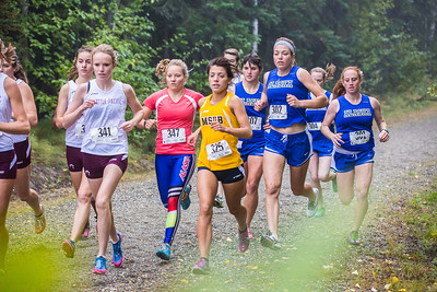 Women runners from Seattle Pacific and Montana State Billings joined UAF on a three team cross country meet on a foggy morning at the UAF West Ridge ski trails.  Filename: ATH-13-3933-77.jpg