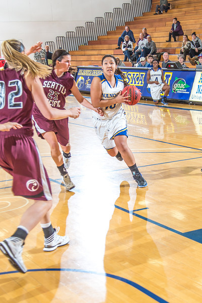 """Sophomore guard Brianna Kirk drives toward the lane during the Nanooks' first GNAC game of the season against Seattle Pacific.  <div class=""""ss-paypal-button"""">Filename: ATH-13-4015-100.jpg</div><div class=""""ss-paypal-button-end"""" style=""""""""></div>"""