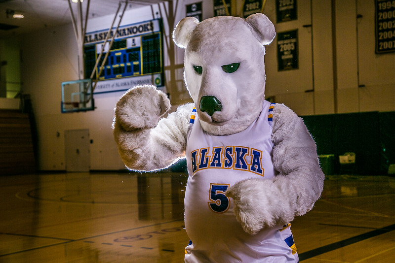 "The Nanook mascot poses for a photoshoot while hanging out in the Patty Gym.  <div class=""ss-paypal-button"">Filename: ATH-13-3850-11.jpg</div><div class=""ss-paypal-button-end"" style=""""></div>"