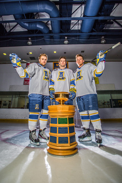 "Colton Beck, left, Michael Quinn, center, and Cody Kunyk return as seniors to lead the Nanooks in 2013 as the team makes its initial foray into the tough WCHA (Western Collegiate Hockey Association).  <div class=""ss-paypal-button"">Filename: ATH-13-3818-54.jpg</div><div class=""ss-paypal-button-end"" style=""""></div>"