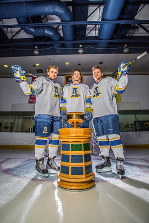 Colton Beck, left, Michael Quinn, center, and Cody Kunyk return as seniors to lead the Nanooks in 2013 as the team makes its initial foray into the tough WCHA (Western Collegiate Hockey Association).  Filename: ATH-13-3818-54.jpg