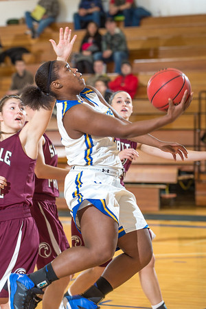 Freshman point guard Victoria Milton puts up a running one-handed scoop shot during the Nanooks' first GNAC game of the season against Seattle Pacific.  Filename: ATH-13-4015-28.jpg