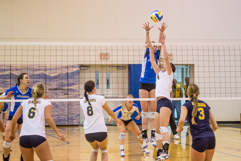 "Freshman Sam Harthun skies for a block during the Nanooks' match against Montana State-Billings in the Patty Center.  <div class=""ss-paypal-button"">Filename: ATH-12-3638-108.jpg</div><div class=""ss-paypal-button-end"" style=""""></div>"