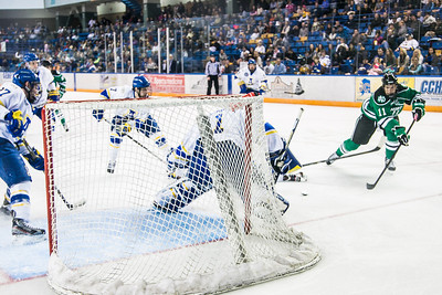 Senior goalie Steve Thompson guards the net during the Nanooks' 2-1 win over North Dakota in the Carlson Center.  Filename: ATH-12-3601-7.jpg