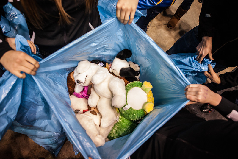 """The Student-Athlete Advisory Committee (SAAC) sponsored the 2nd Annual Teddy Bear Toss during the hockey game against Bowling Green State University Saturday, Dec. 8, 2012 at the Carlson Center. The bears were sent to Santa's Clearing House in Fairbanks to be given to families during holiday season.  <div class=""""ss-paypal-button"""">Filename: ATH-12-3676-74.jpg</div><div class=""""ss-paypal-button-end"""" style=""""""""></div>"""