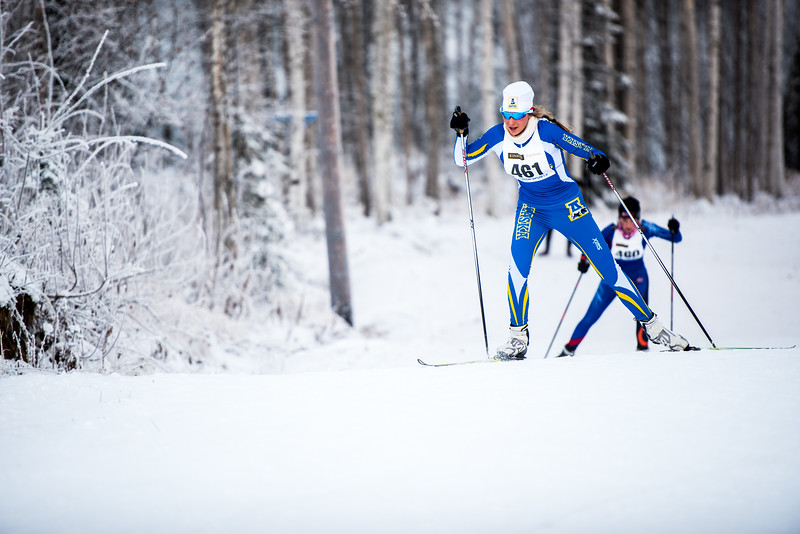 """Anne-Tine Markset sprints up the final hill of the women's 6.5km race during day one of the Nordic Cup at Birch Hill on Nov. 19, 2016.  <div class=""""ss-paypal-button"""">Filename: ATH-16-5069-5.jpg</div><div class=""""ss-paypal-button-end""""></div>"""