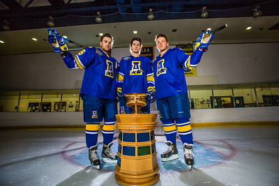 Colton Beck, left, Michael Quinn, center, and Cody Kunyk return as seniors to lead the Nanooks in 2013 as the team makes its initial foray into the tough WCHA (Western Collegiate Hockey Association).  Filename: ATH-13-3818-8.jpg