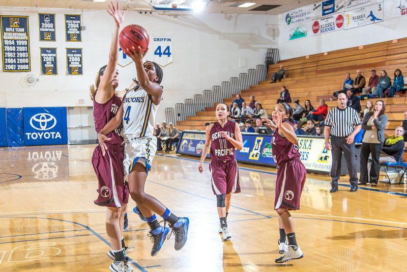 """Junior point guard Benissa Bulaya puts up a running one-handed shot during the Nanooks' first GNAC game of the season against Seattle Pacific.  <div class=""""ss-paypal-button"""">Filename: ATH-13-4015-95.jpg</div><div class=""""ss-paypal-button-end"""" style=""""""""></div>"""