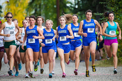 UAF women racers take to the UAF West Ridge Ski trails during a cross country meet Thursday, August 30, 2012.  Filename: ATH-12-3530-6.jpg