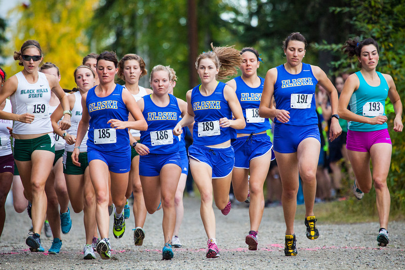 """UAF women racers take to the UAF West Ridge Ski trails during a cross country meet Thursday, August 30, 2012.  <div class=""""ss-paypal-button"""">Filename: ATH-12-3530-6.jpg</div><div class=""""ss-paypal-button-end"""" style=""""""""></div>"""