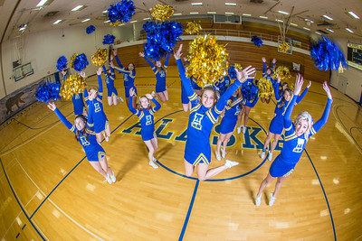 The 2014 Nanook cheerleaders pose in the Patty Gym.  Filename: ATH-14-4044-38.jpg