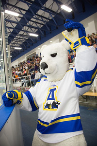 The mascot cheers on the crowd at the start of the Nanooks' game against Mercyhurst Oct. 25 in the Patty Ice Arena.  Filename: ATH-13-3982-2.jpg