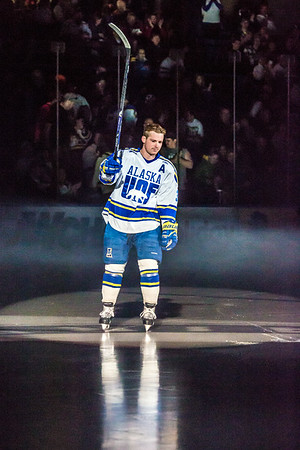Senior Cody Kunyk skates onto the ice for his final regular season game as a Nanook before facing off against UAA Saturday, March 8 in the Carlson Center.  Filename: ATH-14-4109-33.jpg