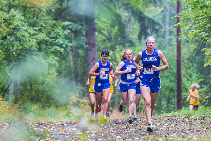 """Women runners from Seattle Pacific and Montana State Billings joined UAF on a three team cross country meet on a foggy morning at the UAF West Ridge ski trails.  <div class=""""ss-paypal-button"""">Filename: ATH-13-3933-83.jpg</div><div class=""""ss-paypal-button-end"""" style=""""""""></div>"""
