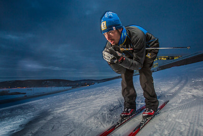 Freshman skier Nick Lovett gets in some practice time on the UAF ski trails.  Filename: ATH-13-4013-43.jpg