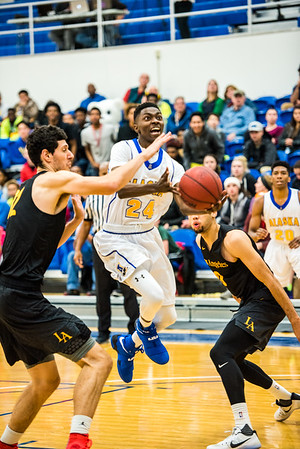 Daniel Hornbuckle shoots during the Nanooks' game against Cal State LA on Nov. 21 in the Patty Gym.  Filename: ATH-16-5072-50.jpg
