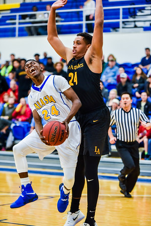 Daniel Hornbuckle jumps to shoot within the first five minutes of the Nanooks' game against Cal State LA on Nov. 21 in the Patty Gym.  Filename: ATH-16-5072-20.jpg