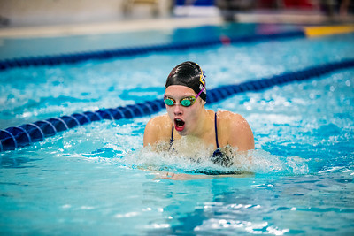 Junior Martha Hood competes in the breastroke leg of the 200-yard individual medley during the Nanooks' meet against Concordia-Irvine on Friday, Nov. 11, 2016 in the Patty Pool.  Filename: ATH-16-5059-10.jpg