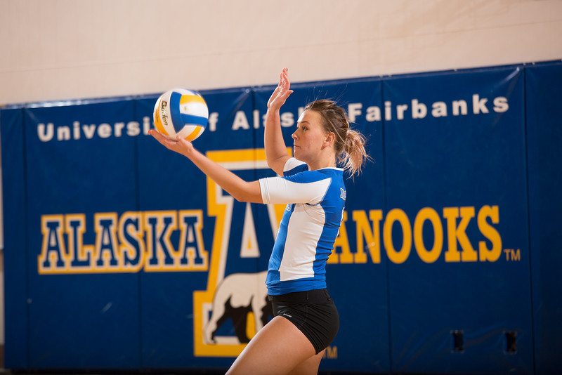 """Senior Reilly Stevens gets ready to serve during the Nanooks' win over Simon Fraser in the Patty Center.  <div class=""""ss-paypal-button"""">Filename: ATH-12-3581-142.jpg</div><div class=""""ss-paypal-button-end"""" style=""""""""></div>"""