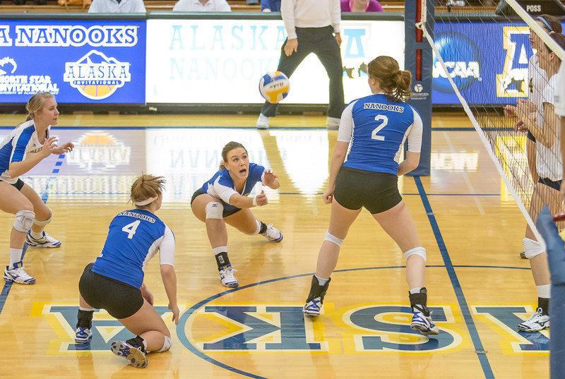 """Senior Reilly Stevens gets a dig during the Nanooks' match against Montana State-Billings in the Patty Center.  <div class=""""ss-paypal-button"""">Filename: ATH-12-3638-61.jpg</div><div class=""""ss-paypal-button-end"""" style=""""""""></div>"""