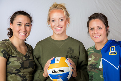 Members of the Nanook volleyball team wear fatigues to promote military appreciation.  Filename: ATH-13-3908-169.jpg