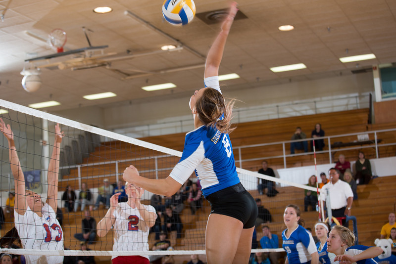 "Senior Reilly Stevens skies for a kill during the Nanooks' win over Simon Fraser in the Patty Center.  <div class=""ss-paypal-button"">Filename: ATH-12-3581-159.jpg</div><div class=""ss-paypal-button-end"" style=""""></div>"
