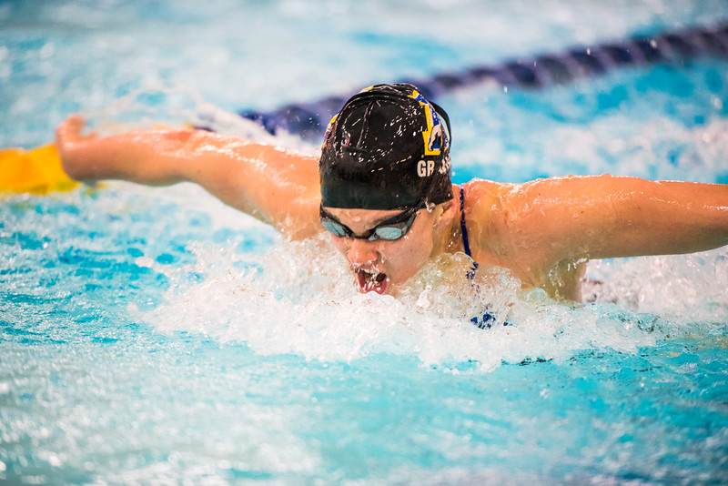 """Junior Noelle Graham competes in the second heat of the 100-yard butterfly during the Nanooks' meet against Concordia-Irvine on Friday, Nov. 11, 2016 in the Patty Pool.  <div class=""""ss-paypal-button"""">Filename: ATH-16-5059-13.jpg</div><div class=""""ss-paypal-button-end""""></div>"""