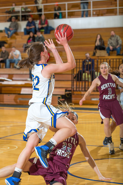 """Freshman forward Kailee Skjold scored and drew a blocking foul on this play during the first half of the Nanooks' first GNAC game of the season against Seattle Pacific.  <div class=""""ss-paypal-button"""">Filename: ATH-13-4015-30.jpg</div><div class=""""ss-paypal-button-end"""" style=""""""""></div>"""