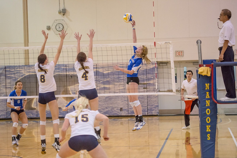 """Freshman Sam Harthun skies for a kill during the Nanooks' match against Montana State-Billings in the Patty Center.  <div class=""""ss-paypal-button"""">Filename: ATH-12-3638-114.jpg</div><div class=""""ss-paypal-button-end"""" style=""""""""></div>"""