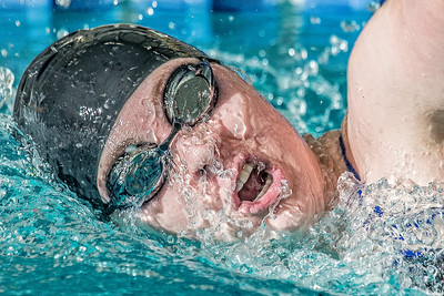 Freshman Kathryn Pound strokes her way toward the finish line to win the 1000-yard freestyle event during the Nanooks' meet against Loyola Marymount in the Patty Pool.  Filename: ATH-13-3991-59-Edit.jpg