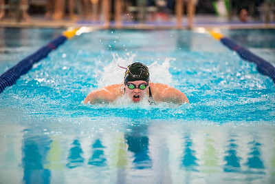 Freshman Ava Parrish competes in the first heat of the 100-yard butterfly during the Nanooks' meet against Concordia-Irvine on Friday, Nov. 11, 2016 in the Patty Pool.  Filename: ATH-16-5059-11.jpg
