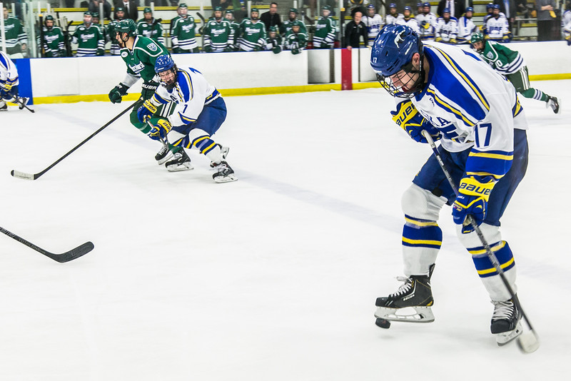 """Freshman Jared Linnell controls the puck with his skate in the Nanooks' game against the Mercyhurst Lakers in the Patty Ice Arena.  <div class=""""ss-paypal-button"""">Filename: ATH-13-3982-156.jpg</div><div class=""""ss-paypal-button-end"""" style=""""""""></div>"""