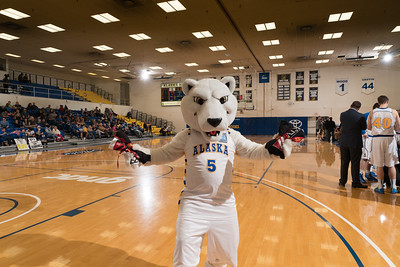 The Nanook mascot is a regular at UAF basketball games on the Alaska Airlines Court in the Patty Gym.  Filename: ATH-16-4810-47.jpg