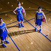 "Seniors Teanna Boxley, left, and Taylor Altenburg, center, join junior Marissa Atoruk on the Patty Center court.  <div class=""ss-paypal-button"">Filename: ATH-12-3625-010.jpg</div><div class=""ss-paypal-button-end"" style=""""></div>"