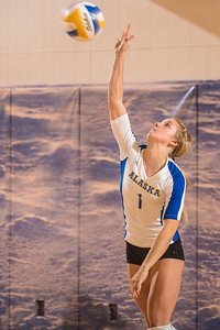 Senior Allison Oddy serves during the Nanooks' match against Montana State-Billings in the Patty Center.  Filename: ATH-12-3638-160.jpg