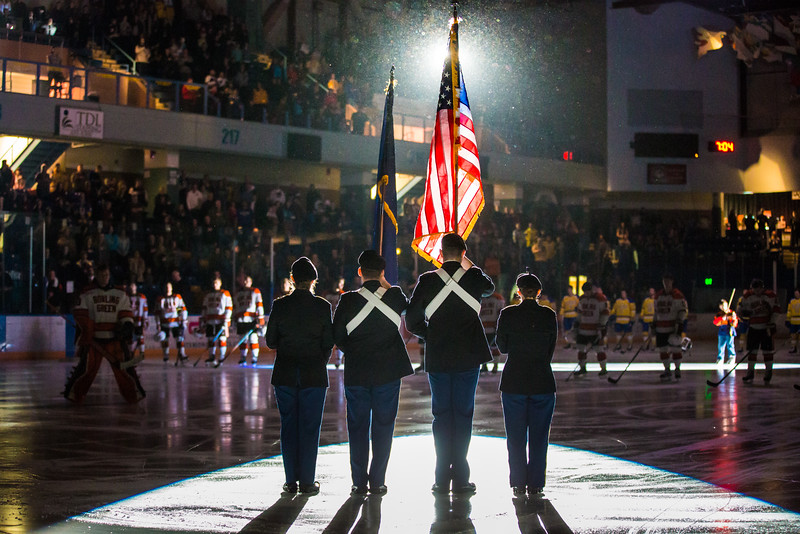 """UAF ROTC cadets presented the colors at the start of a hockey game between the Alaska Nanooks and Bowling Green State University.  <div class=""""ss-paypal-button"""">Filename: ATH-16-4812-52.jpg</div><div class=""""ss-paypal-button-end""""></div>"""