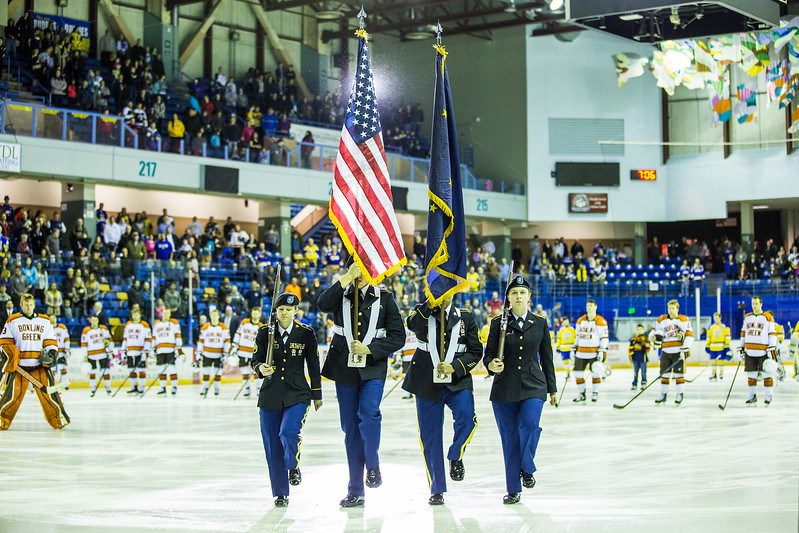 """UAF ROTC cadets presented the colors at the start of a hockey game between the Alaska Nanooks and Bowling Green State University.  <div class=""""ss-paypal-button"""">Filename: ATH-16-4812-67.jpg</div><div class=""""ss-paypal-button-end""""></div>"""