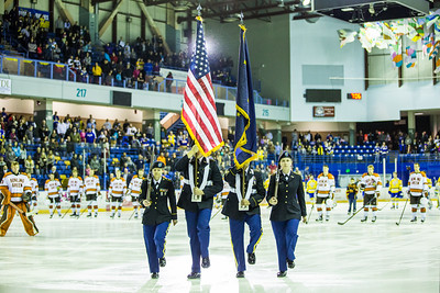 UAF ROTC cadets presented the colors at the start of a hockey game between the Alaska Nanooks and Bowling Green State University.  Filename: ATH-16-4812-67.jpg